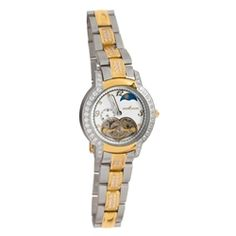 Henri LaPointe ladies automatic watch with yellow gold plating over stainless steel for a great two tone look. Sparkling crystal accents, white dial and heart shaped window all add a feminine touch to this classic time piece. Our Price: $299.00