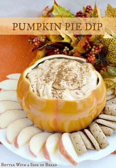 Pumpkin Pie Dip~ you just need 5 ingredients and 5 minutes to make this sweet dip! Butter With A Side of Bread uses 5 oz box vanilla instant pudding, 15 oz can pumpkin, cool whip and pumpkin pie spice. Serve with graham cracker sticks. Dessert Dips, Köstliche Desserts, Delicious Desserts, Dessert Recipes, Yummy Food, Pumpkin Pie Dip, Pumpkin Dessert, Pumpkin Spice, Pumpkin Butter