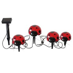 - Solar powered, decorative ladybug lights ideal for decorating shrubs, flower beds and outdoor areas - Powered by a separate solar panel allowing lights to be placed in shady areas - Overall cable le