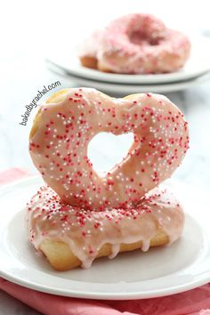 Strawberry Glazed Heart Shaped Donuts for Valentine's Day