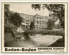 Original-Werbung/ Anzeige 1928 - BADEN- BADEN / BRENNERS KURHOF-  ca. 65 x 55 mm