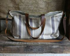 Recycled 1920's era Cotton Weekend Bag