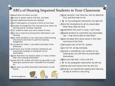 ABCs of hearing loss in classroom for teachers.pdf - Google Drive. Repinned by SOS Inc. Resources pinterest.com/sostherapy/.