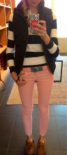 Striped Rugby Shirt + Quilted Vest + Blush Pink Jeans + Vineyard Vines Patchwork Belt + Topsiders