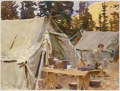 "John Singer Sargent (American, 1856-1925). Camp at Lake O'Hara, 1916. The Metropolitan Museum of Art, New York. Gift of Mrs. David Hecht, in memory of her son, Victor D. Hecht, 1932 (32.116) | This work is in our ""Sargent: Portraits of Artists and Friends."""