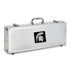 Fiero 5 piece BBQ Tool Set with Engraved Collegiate Football Team Logo Aluminum Case