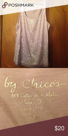 "Lavender sequined shell Chicos brand light purple size ""1"" which is a medium tank top there is a slight ombré the sequins are layered over a soft material cotton only worn once Chico's Tops"