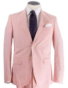 Light weight and breathable red seersucker suit for men fabricated by high quality cotton.