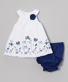 Love this Baby Essentials White & Blue Floral Yolk Dress & Diaper Cover - Infant by Baby Essentials on Dresses Kids Girl, Little Girl Outfits, Little Girl Dresses, Kids Outfits, Fashion Kids, Sewing Baby Clothes, Baby Dress Patterns, Baby Outfits Newborn, Toddler Dress
