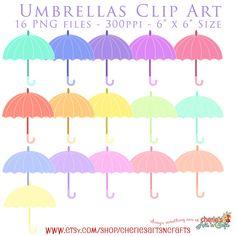 Pretty Umbrellas Clip Art, 16 Colors PNG Umbrellas, Umbrella Graphics, Digital Scrapbooking Elements, Umbrella Cliparts, Clip Art, Cliparts