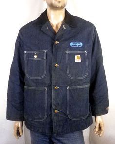 vtg 70s Carhartt USA union made Blanket Lined Indigo Denim Work Jacket chore 42