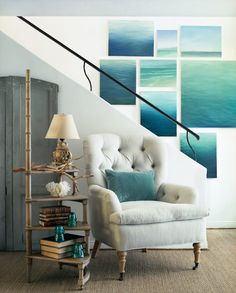 Seaside Serenity  Blow up lots of water photos, mount on wall. Like the table too!