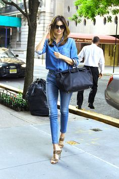 Miranda Kerr | demin, chambray, animal print pumps | Summer to Fall Street Style…