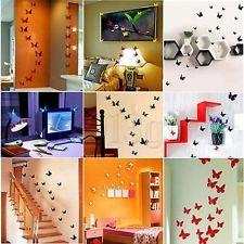 12x Autocollant Sticker Mural 3D Papillon DIY Décor Maison Salon Chambre Cadeau