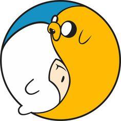 Jake and Finn as Yin yang symbol - Yinn and Yake from Adventure Time Adventure Time Tattoo, Jake Adventure Time, Fin And Jake, Jake The Dogs, Finn The Human, Cartoon Tv, Cartoon Characters, Cartoon Network, Abenteuerzeit Mit Finn Und Jake