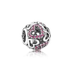 With a light and elegant expression from filigree heart details and an added feminine touch from glittery pink stones, the cute openwork charm is an everlasting expression of love. #PANDORA #PANDORAcharm