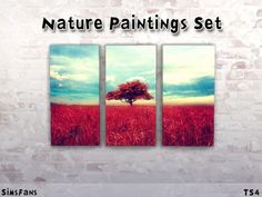 Nature Paintings Set by Melinda at Sims Fans via Sims 4 Updates Sims 1, Sims 4 Mods, Sims 4 Update, Sims Community, The Sims4, Sims 4 Custom Content, Electronic Art, Nature Paintings, Objects