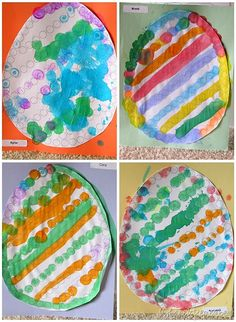 Dot art eggs for Easter.  Easter craft for toddlers and preschool.