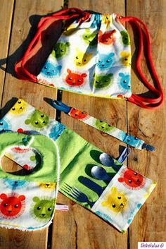 El blog de Bebelulua: Conjunto mochila con estuche para cubierto, babero y chupetero.