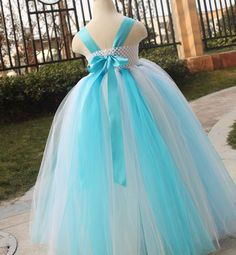 Flower Girl Dress Turquoise Grey white. So nice to see a tutu in something other than pink!!