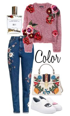 """Colors And Flowers"" by hermoinegranger ❤ liked on Polyvore featuring Improvements, Topshop, Dolce&Gabbana, Chiara Ferragni, Gucci, Bodhi, Color, Flowers and rainbow"