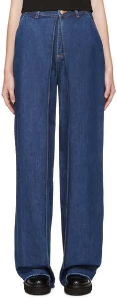 Aalto Blue Front-Pleat Jeans
