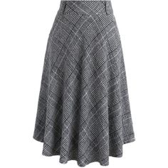 Chicwish Houndstooth Check Wool-blend A-line Skirt in Grey ($41) ❤ liked on Polyvore featuring skirts, grey, chicwish skirts, knee length a line skirt, gray skirt, houndstooth a line skirt and gray a line skirt