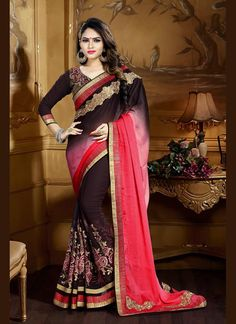Exquisite Patch Border Work Brown Crepe Jacquard Traditional  Saree