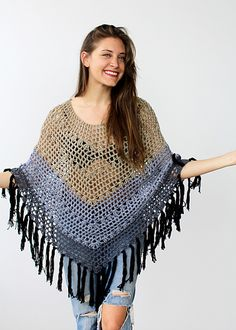 My new summer go-to garment! This poncho is perfect worn at the beach over a swimsuit or over a tank and cut-offs on the street. The weight of the yarn helps it drape beautifully, and while the cotton and loose-crochet aspects of it keep it nice and breezy for warm weather, it's also just great as an extra layer to cover your shoulders for nights out to dinner and a movie.