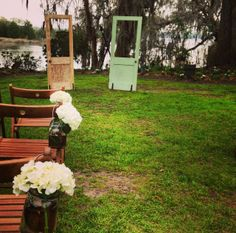 Another view of these vintage doors for the wedding ceremony backdrop from 428 Main.  This was a gorgeous wedding at Magnolia Plantation by Fox Events in Charleston, SC!