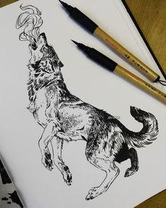 Animal Sketches, Animal Drawings, Cool Drawings, Tattoo Drawings, Art Sketches, Wolf Sketch, Pen Sketch, Fenrir Tattoo, Tattoo Wolf