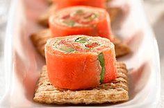 "Smoked Salmon ""Sushi"" Topper recipe #kraftrecipes"