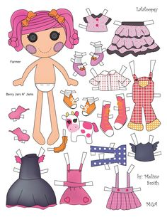 LALALOOPSY Twin Sisters -Sunny Side Up -BERRY JARS AND JAMS created by MGA originally sold in a two pack. Melissa Smith {AKA Miss Missy} designed the dolls using Adobe Illustrator. -BERRY has a pet cow. She has three tops, two skirts, an apron, a pair of overalls, one dress, one pair of leggings and three pairs of shoes. (*MGA Entertainment [Micro-Games America Entertainment] is a manufacturer of children's toys and entertainment products founded in 1979.)