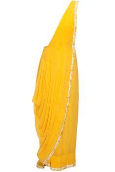 Mango yellow pre-stitched sari with powder blue embroidered blouse by Saumya & Bhavini Modi. Shop at: http://www.perniaspopupshop.com/designers/saumya-and-bhavini-modi #perniaspopupshop #saumya&bhavini #sari #shopnow