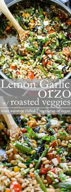 Lemon Garlic Orzo with Roasted Vegetables is packed with texture and flavor. A delicious and easy orzo pasta recipe served warm or chilled and makes fabulous leftovers too! Veggie Dishes, Veggie Recipes, Whole Food Recipes, Salad Recipes, Pasta Dishes, Cooking Recipes, Healthy Recipes, Orzo Recipes, Side Dishes