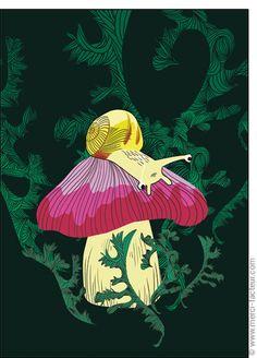 #carte #illustration #couleur #autumn #leaves #color #plantes #café #cards #snail #autumn #plants #leaves #mushroom #coffee Carte Un #escargot sur son #champignon pour envoyer par La Poste, sur Merci-Facteur ! Illustration, Movies, Movie Posters, The Letterman, Snail, October, Mushroom, Thanks, Plants