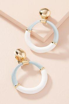 Slide View: 1: Colorblock Hoop Drop Earrings
