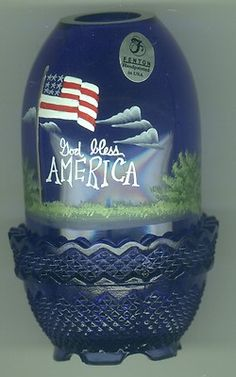 VINTAGE FENTON FAIRY LAMP HAND PAINTED AND SIGNED,COBALT BLUE,GOD BLESS AMERICA