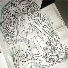 Usando Alfons Mucha para fazer uma Nossa Senhora Aparecida. Ótima noite a tds nós! @ladobestudio ...