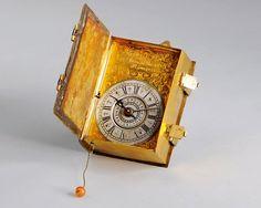 Superb traveling book clock, Franco Villacroce, Rome, 1755