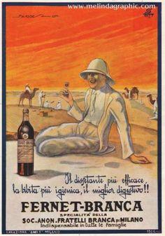 Pubblicità FERNET BRANCA drink digestivo dissetante caldo deserto carovana ADS Vintage Italian Posters, Vintage Advertising Posters, Poster Vintage, Vintage Travel Posters, Vintage Postcards, Vintage Advertisements, Vintage Labels, Vintage Ads, Vintage Food
