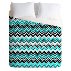 Madart Inc. Turquoise Black White Chevron Duvet Cover | DENY Designs Home Accessories maybe for my future room.....