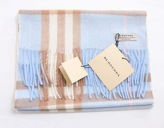 Burberry Cashmere Light Blue Giant Check Scarf