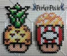 Pineapple and Popcorn Mushrooms by PerlerPixie Fuse Bead Patterns, Perler Patterns, Beading Patterns, Perler Bead Templates, Diy Perler Beads, Pixel Art Champignon, Hamma Beads Ideas, Pearl Beads Pattern, Perler Bead Mario