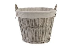 "Willow Basket w/ Lining :: Retail $60, OKL $29 | OneKingsLane.com :: [19.3"" x 18.9""] Beige willow w/ linen liner :: I had bought a similar basket w/o a liner that was a bit darker & a bit shorter (but still seemed huge!) at Target for around 24 bucks before they discontinued them just before Halloween. I used it so much I regretted not buying another. Then I saw these and had to snap one up! 