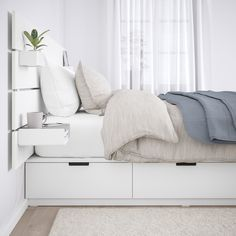NORDLI bed frame with headboard and shelf - white - IKEA Austria White Headboard, Wood Headboard, White Bedding, Bedding Sets, Headboard With Shelves, Bed With Shelves, Bed With Headboard, Queen Bedding, Bed Frame With Storage