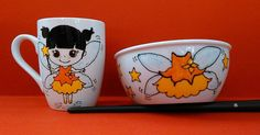 Handpainted mug and bowl with the cuttest little fairy and stars. Perfect Christmas gift!!