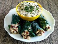Healthy looks good in these Raw Stuffed Kale Leaves with Mint Cashew Aioli.