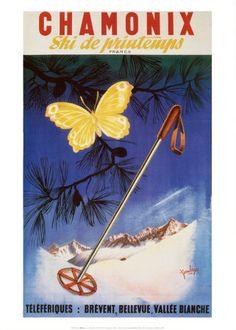 Vintage Skiing Travel Poster - Chamonix ~ Ski de Printemps.