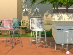 Olive Juice Bar Stool Set. 8 Modern Metal Bar Stools with and without pillow seating, by DOT of The Sims Resource. Found in TSR Category 'Sims 4 Kitchen Sets'